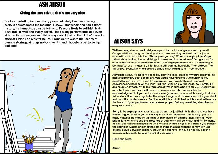 Ask Alison - Giving you the arts advice that's not very nice